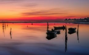 Picture boats, Italy, glow, Friuli-Venezia Giulia