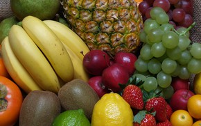 Picture lemon, kiwi, strawberry, grapes, lime, fruit, pineapple, banana, persimmon