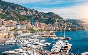 Picture sea, yachts, skyscrapers, boats, pier, pierce, Monaco, Monte Carlo
