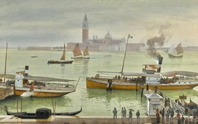 Picture Albert Nikolaevich Benois, VIEW OF VENICE FROM, watercolour over pencil heightened with white, THE RIVA ...