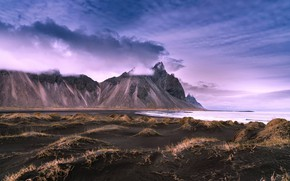 Picture sand, sea, the sky, clouds, mountains, shore, tops, dunes, Iceland, shirenewton
