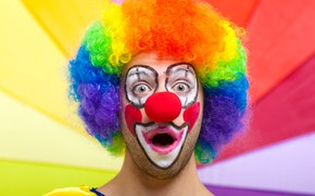 Picture look, face, background, surprise, clown, hairstyle, outfit, wig, colorful, bokeh, makeup, red nose