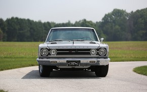 Picture retro, front view, classic, Plymouth Belvedere GTX, American car