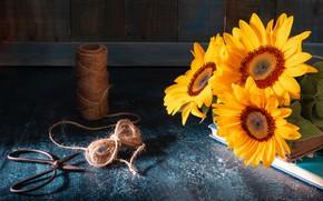 Wallpaper sunflowers, style, books, twine, scissors, coil