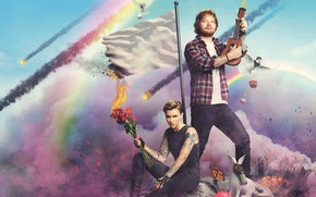 Picture clouds, roses, rainbow, bouquet, rabbit, flag, gas mask, Ruby Rose, Ruby Rose, Ed Sheeran, Ed …