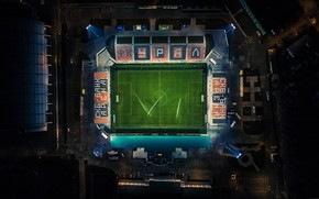 Wallpaper Field, The city, Football, Top, The view from the top, Stadium, Lawn, Ural, Urals, Bumblebees, ...