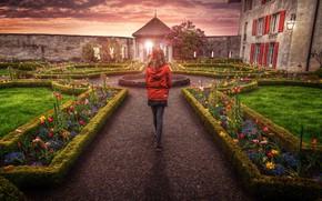 Picture girl, sunset, flowers, castle, back, Switzerland