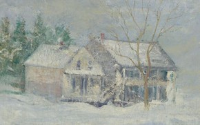 Picture winter, landscape, picture, John Henry Twachtman, John Henry Twachtman, Brush House. Cos Cob