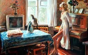 Picture girl, table, room, picture, piano, iron, June morning, Nastassja Chudakova