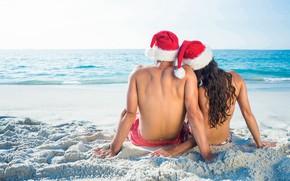 Picture sand, sea, beach, love, New Year, Christmas, pair, love, two, happy, Christmas, beach, sea, romantic, …