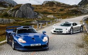 Picture Mercedes-Benz, Porsche, GTR, Porsche 911, CLK, 1997, Sports car, GT1, Mercedes-Benz CLK GTR AMG Coupe, …