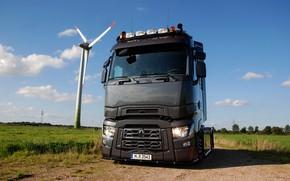 Picture field, truck, Renault, tractor, Torpedo, T520, Renault Trucks, T-series, wind power
