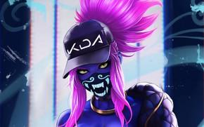 Picture girl, art, cap, bandana, Akali, League of Legends, KDA, by Dandonfuga