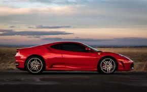 Picture red, supercar, Ferrari F430, sports car, side view