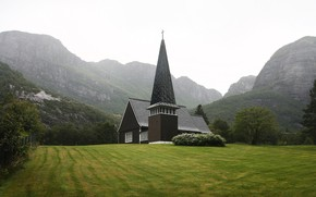 Picture field, mountains, vegetation, temple, Norway