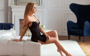 Picture pose, room, model, interior, makeup, figure, negligee, hairstyle, blonde, legs, beauty, sitting, on the couch, …