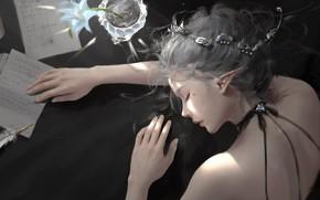 Picture girl, fantasy, flower, mood, face, letter, elf, digital art, artwork, princess, fantasy art, pen, sleeping, ...