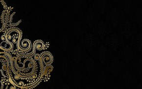 Picture background, gold, pattern, black, ornament