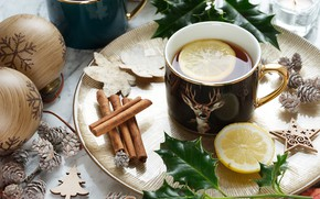 Picture winter, leaves, balls, comfort, table, holiday, balls, lemon, tea, deer, Christmas, the tea party, mug, …