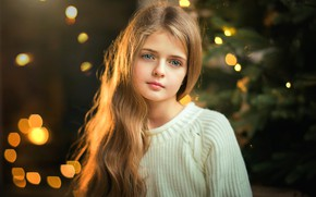 Picture look, girl, New year, bokeh, Olga Boyko