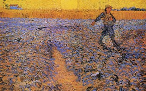 Picture field, the sun, Vincent van Gogh, The Sower 4, the guy in the hat, the …