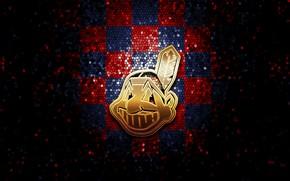 Picture wallpaper, sport, logo, baseball, glitter, checkered, MLB, Cleveland Indians