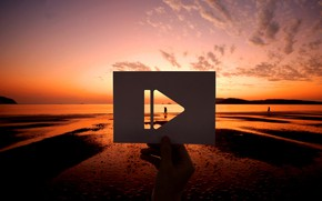 Picture beach, sunset, sign, card