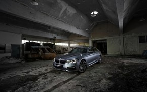 Picture grey, BMW, sedan, the room, 530i, 5, four-door, 5-series, G30