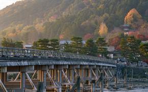 Picture Nature, Bridge, River, Japan, Kyoto, Arashiyama, Togetsu-ke