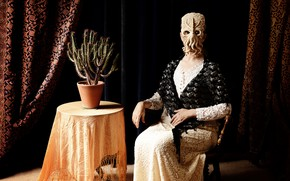 Picture table, room, woman, the situation, cactus, mask, octopus, Cthulhu, curtains, lady, decent, the call of …