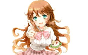 Picture white background, schoolgirl, blue eyes, long hair, cream, cake, yummy, treat, Kono Naka ni Hitori …