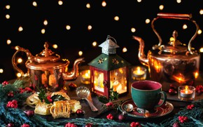 Picture branches, style, kettle, cookies, Christmas, mug, lantern, still life, cakes