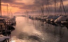 Picture night, boats, pier