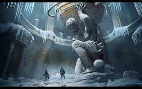 Picture ice, giant, the room, statue, Atlant
