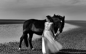 Picture look, girl, horse, dress