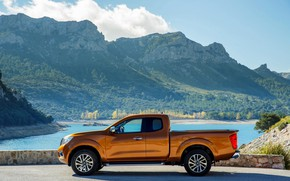 Picture mountains, profile, Nissan, pickup, Navara, King Cab