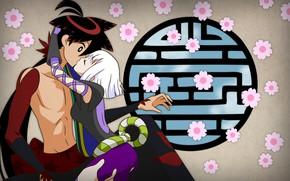 Picture kiss, anime, art, pair, Katanagatari