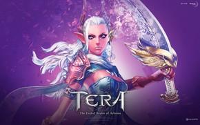 Picture girl, sword, horns, Tera