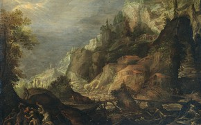 Picture oil, picture, Mountain landscape, Frederik van Valckenborch, Фредерик ван Фалькенборх, 1605