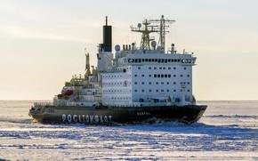 "Wallpaper The ocean, Sea, Ice, Icebreaker, The ship, Russia, Atomflot, Nuclear-powered icebreaker, Rosatom, ""Vaigach"", Vaigach, Icebreaker, ..."