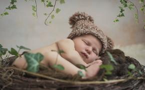 Picture sleep, socket, child, cap, baby, sleep
