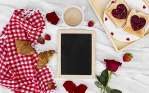 Picture love, roses, Breakfast, hearts, love, romantic, hearts, coffee cup, valentine, croissants, growing, breakfast, roses, a …