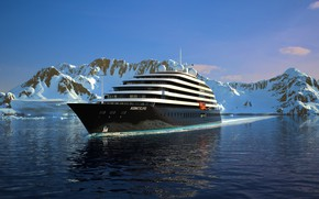 Picture Winter, The ocean, Sea, Mountains, Yacht, Antarctica, The ship, Nose, Eclipse, Rendering, Suite, Tank, Scenic …