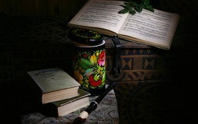 Picture style, retro, notes, the dark background, books, Bank, chest, still life, flute, items, painting, stool, …