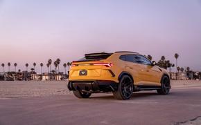 Picture beach, sunset, lights, the evening, Lamborghini, Vorsteiner, crossover, Urus, 2019
