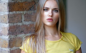 Picture look, wall, model, portrait, brick, makeup, Mike, hairstyle, blonde, beauty, Laura