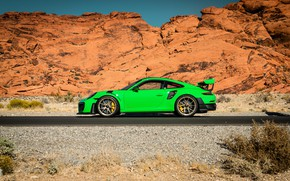 Picture 911, Porsche, Green, GT3, VAG, Canyon