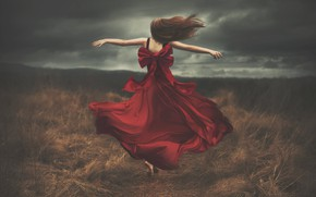 Picture field, the sky, girl, back, dress, running, Shelby Robinson