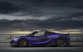 Picture overcast, McLaren, supercar, side view, Spider, 2019, 600LT, Lantana Purple