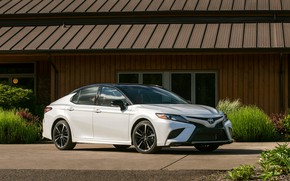 Picture white, the building, Toyota, sedan, 2018, Camry, XSE